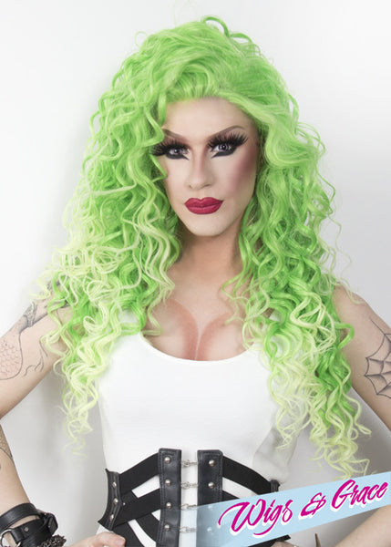 LIME CRUSHED ESMERALDA - Wigs and Grace , drag queen wig, drag queen, lace front wig, high quality wig, rupauls drag race wig, rpdr wig, kim chi wig