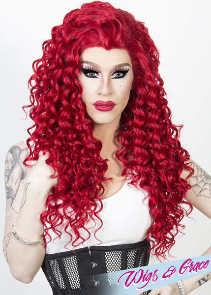 RED ESMERALDA - Wigs and Grace , drag queen wig, drag queen, lace front wig, high quality wig, rupauls drag race wig, rpdr wig, kim chi wig