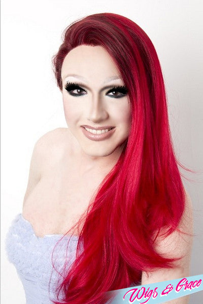 RED OMBRE BETSY - Wigs and Grace , drag queen wig, drag queen, lace front wig, high quality wig, rupauls drag race wig, rpdr wig, kim chi wig