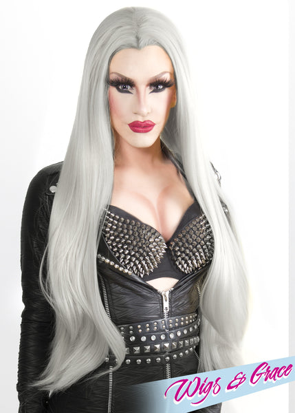 SILVER DONATELLA - Wigs and Grace , drag queen wig, drag queen, lace front wig, high quality wig, rupauls drag race wig, rpdr wig, kim chi wig