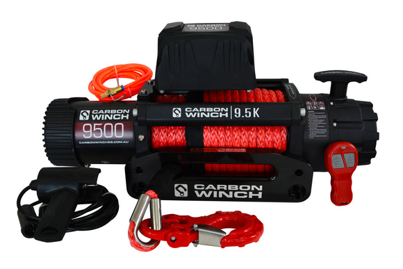 9500lb High Speed Carbon Winch (Synthetic Rope)