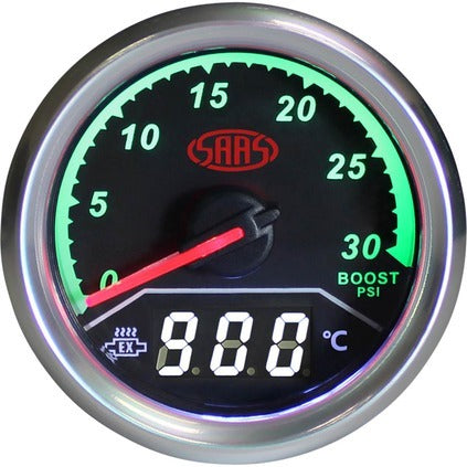 Roadsafe SAAS Streetline Boost Gauge Diesel 0-30 PSI With Ex Temp