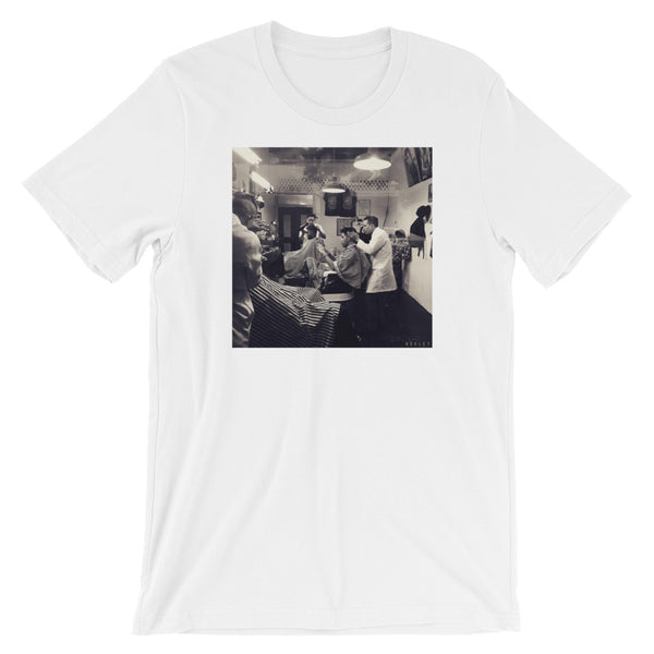 Barber Shop Drama Unique Photo Design T-Shirt by Martin Hurley -  - Shopafoo Art Tees