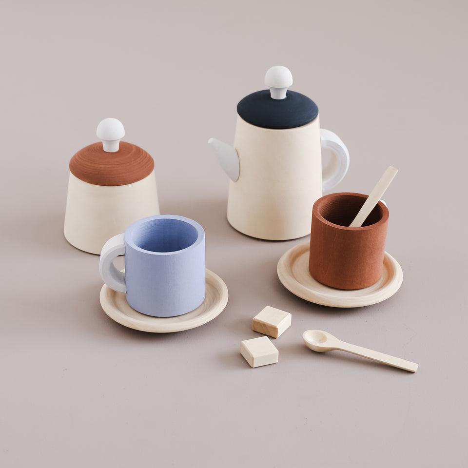 Wooden Tea Set Terracotta and Blue