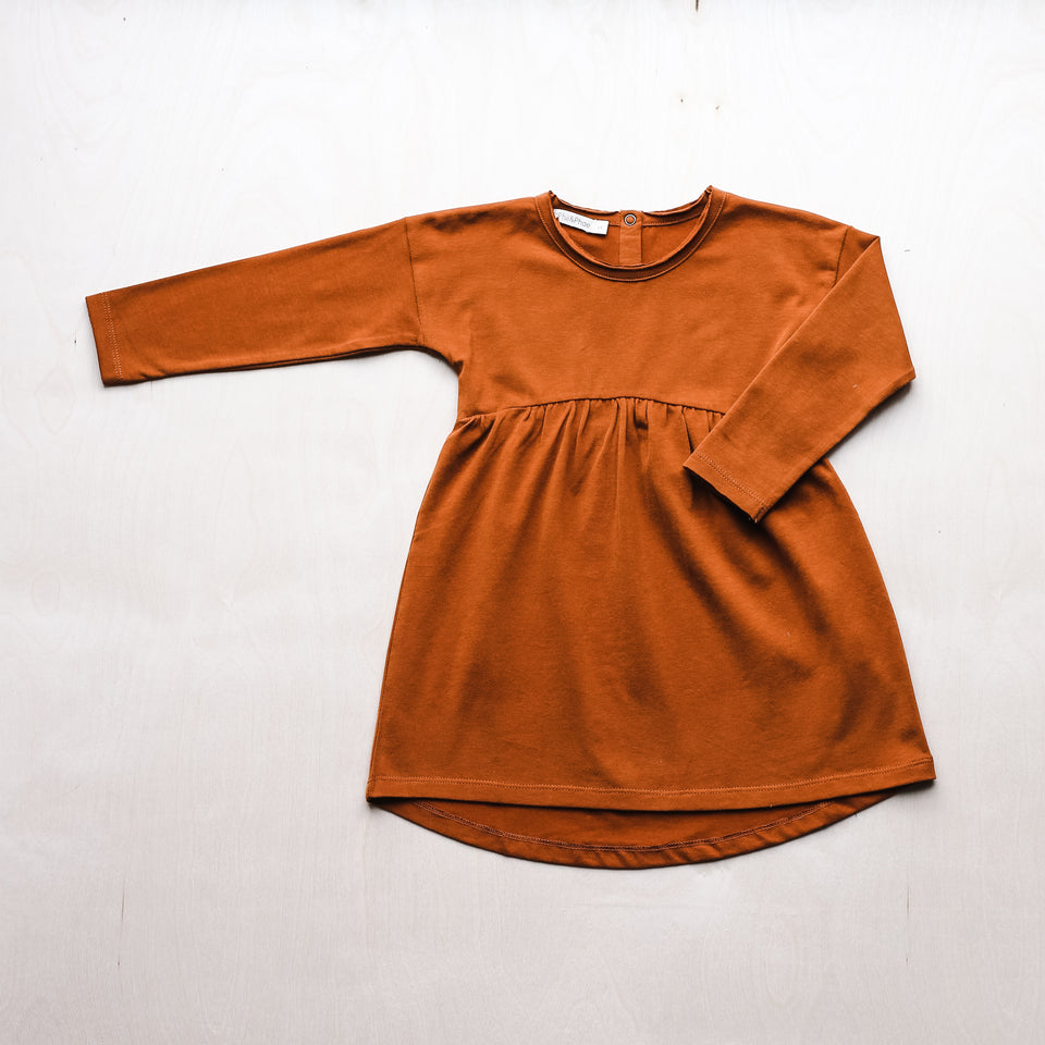 Drop-Shoulder Dress (Burnt Orange)