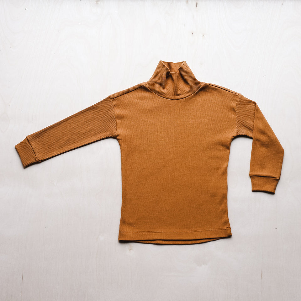 Rib Turtleneck Tee  (Gold Ochre)