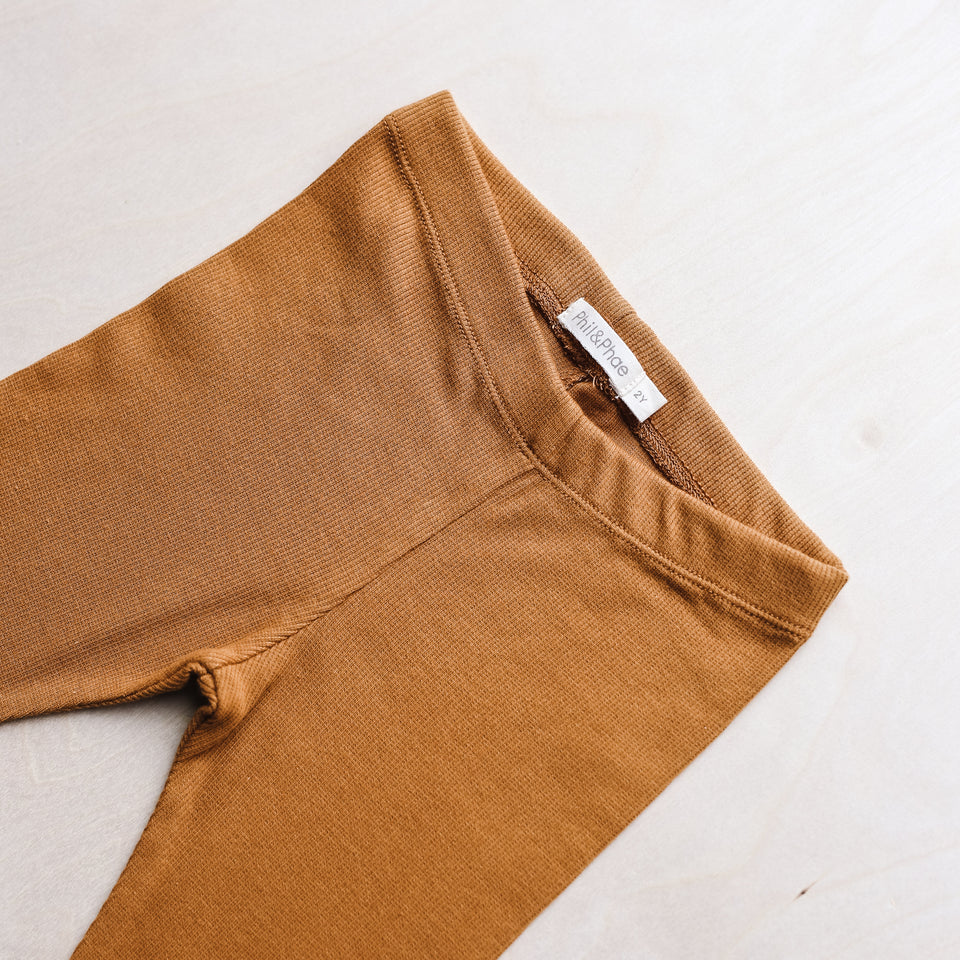 Rib Leggings (Gold Ochre)