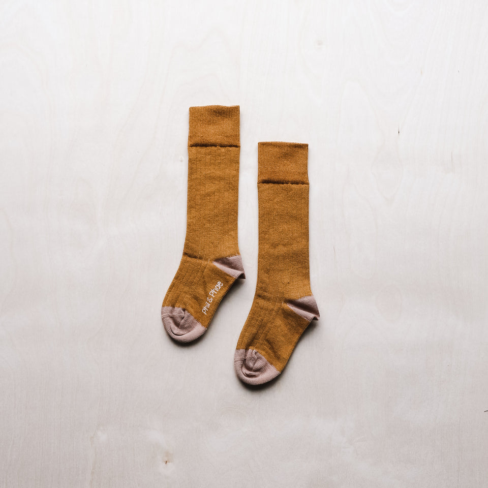 Rib Kneesocks (Gold Ochre)