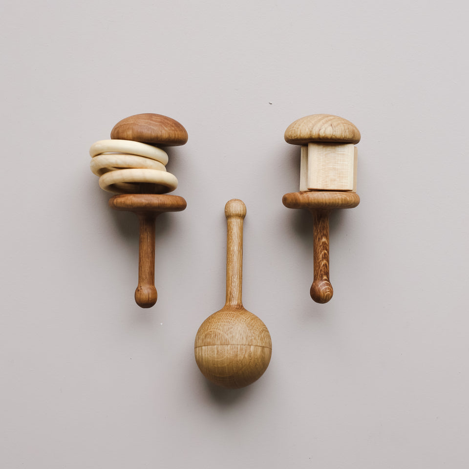 Forest Sounds Wooden Rattles (Set of 3)