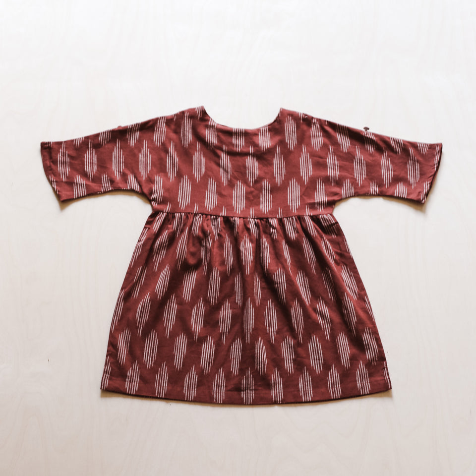 Agatha Dress (Terracotta Ikat)