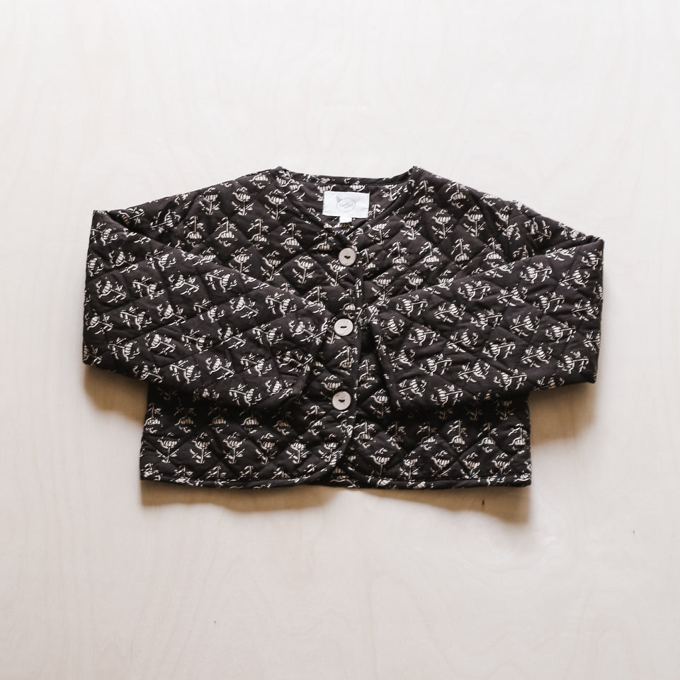 Kismet Quilted Jacket (Black Flower)