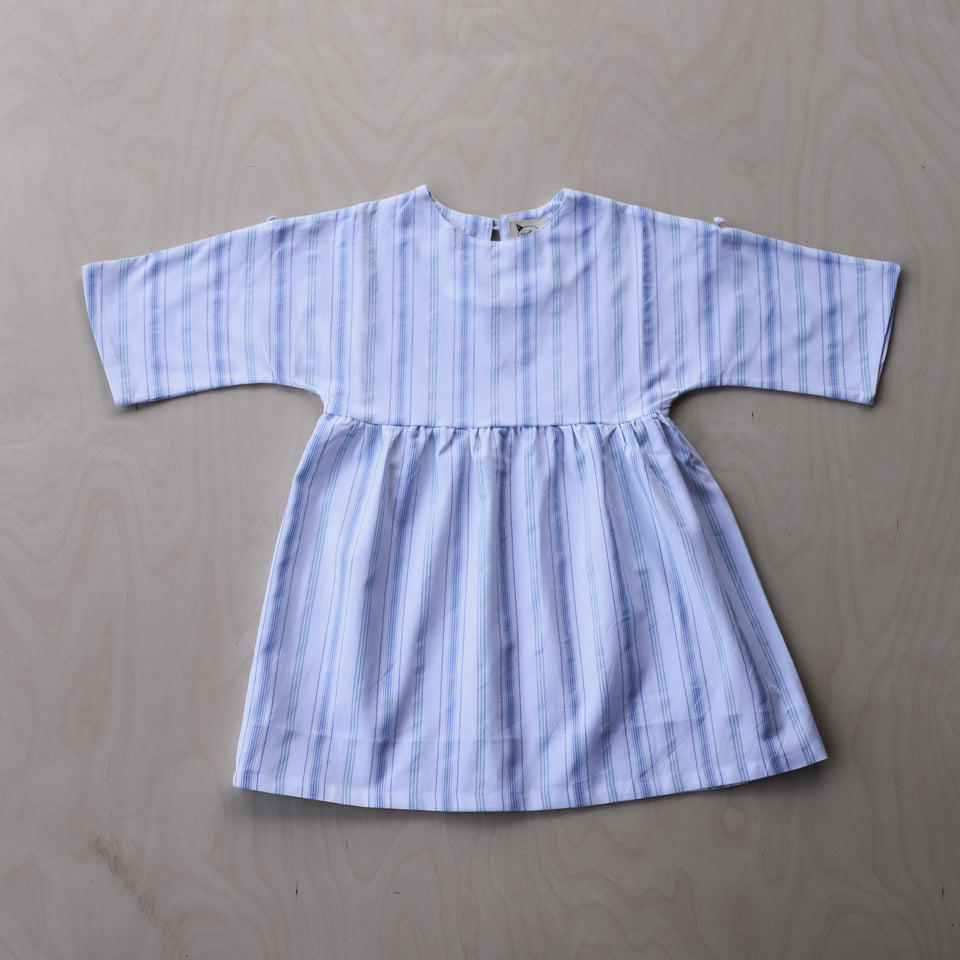 Agatha Dress (Blue & Turquoise Stripes)