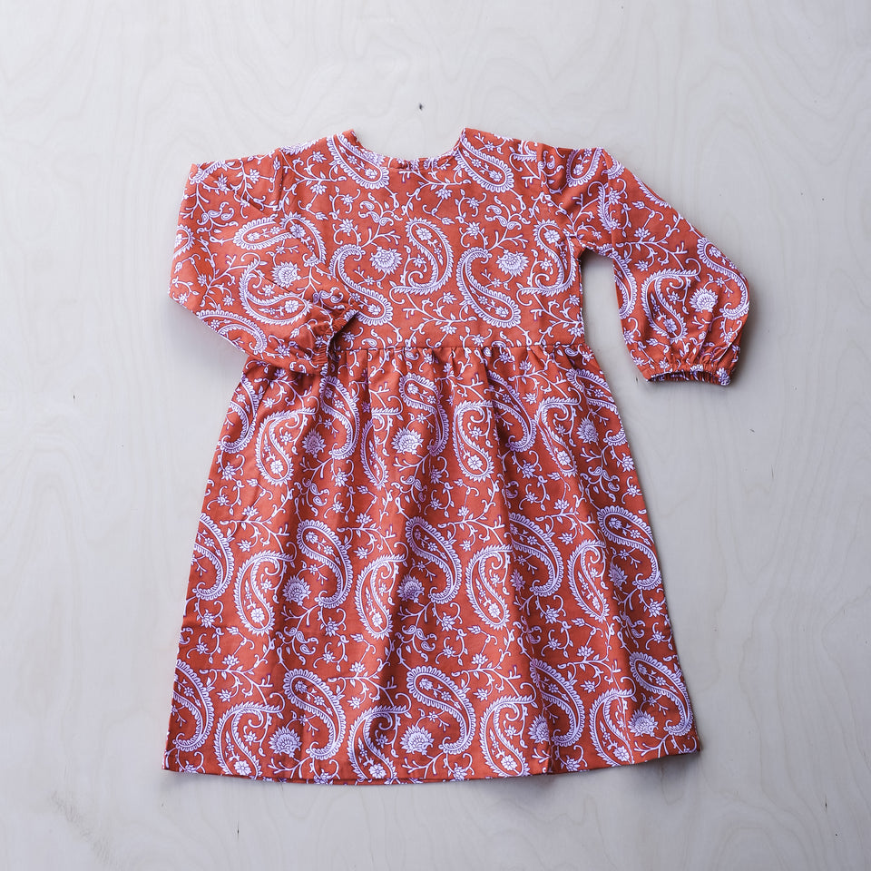 Bella Dress (Orange Flower)