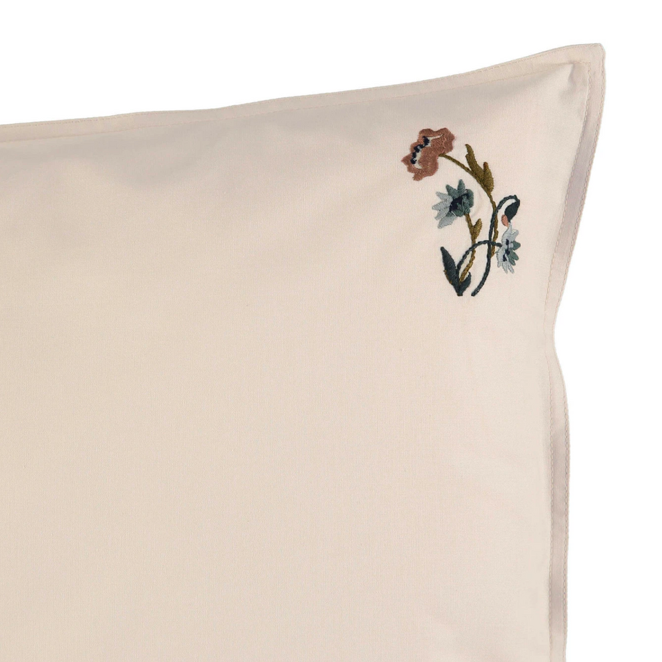 Pillow Case (Stone Poppy Embroidery)
