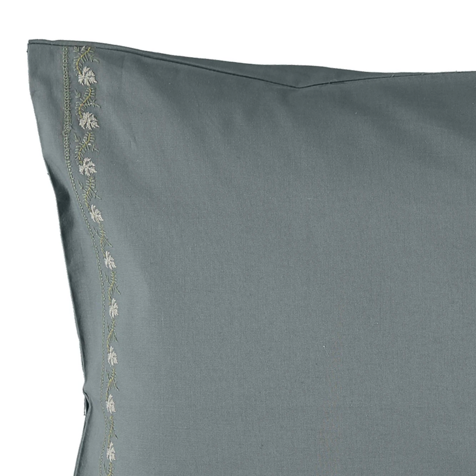 Pillow Case (Blue Grey Leaf Embroidery)