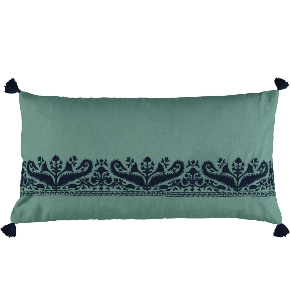 Embroidered Bolster Cushion Cover (Teal Paisley)
