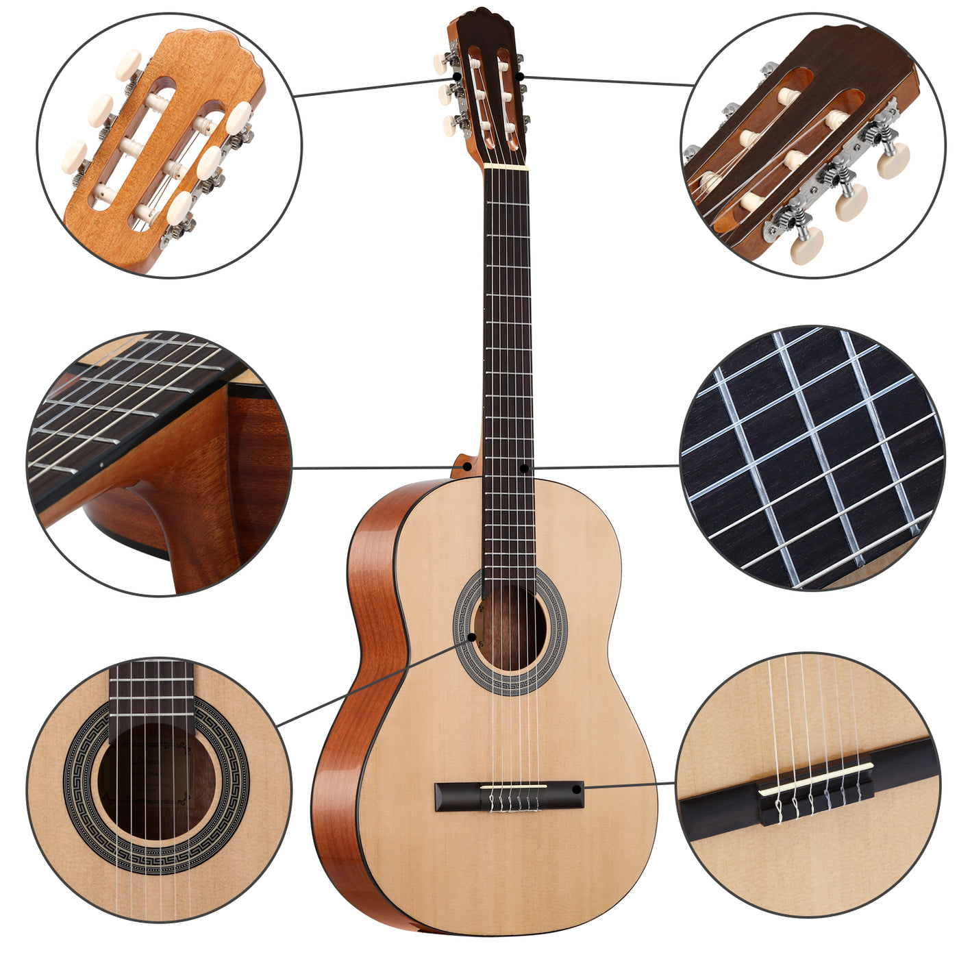 donner 39 inch classical guitar spruce mahogany body dcg 1 full size b donnerdeal. Black Bedroom Furniture Sets. Home Design Ideas