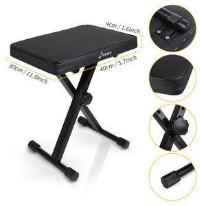 Donner Adjustable High-density Sponges Keyboard Bench, Non-skid Design X-Style Bench,Black