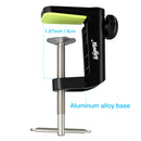 "Moukey MACB1 aluminum alloy tabletop mounting clip for microphone or table lamp suspension arm scissor arm bracket with adjustable set screw, rubber protective pad,up to 1.97""/5cm desktop thickness, - Black"