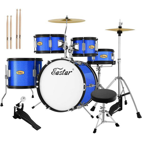 Eastar 16 inch Junior Drum Set Kids Drum Set 5-Piece with Adjustable Throne and Cymbal, Pedal & Drumsticks, Metallic Blue (EDS-350Bu)