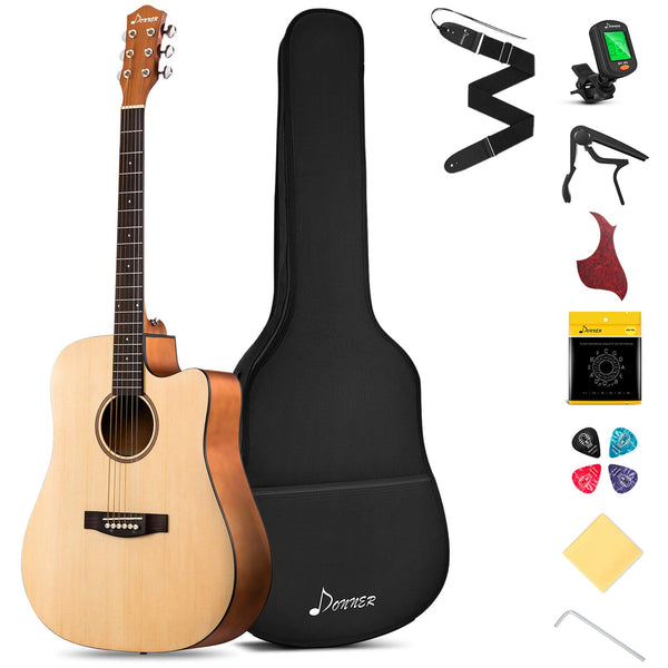 "Donner DAD-140C Beginner Acoustic Guitar Full Size, 41"" Cutaway Guitar Bundle with Gig Bag Capo Picks Strap String"