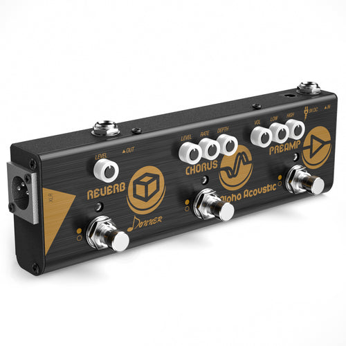 Donner Multi Effect Pedal Chain Alpha Acoustic 3 Guitar Effect Modes Acoustic Preamp, Chorus and Hall Reverb