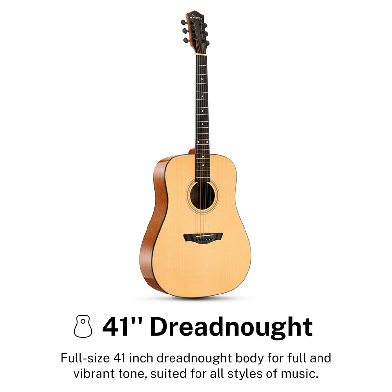 "Donner DAD-812 Solid Top Acoustic Guitar Full Size, 41"" Dreadnought Guitar  with gloss finish Bundle with Gig Bag Tuner Capo Picks Strap String"
