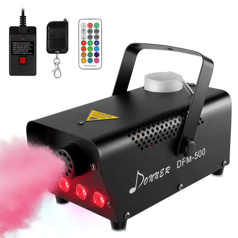 Donner DFM-400 500W Fog Machine with LED lights, DJ LED Smoke Machine with Wireless and Wired Remote Control for Thanks giving Christmas Parties Weddings Christmas Halloween, with Fuse Protect