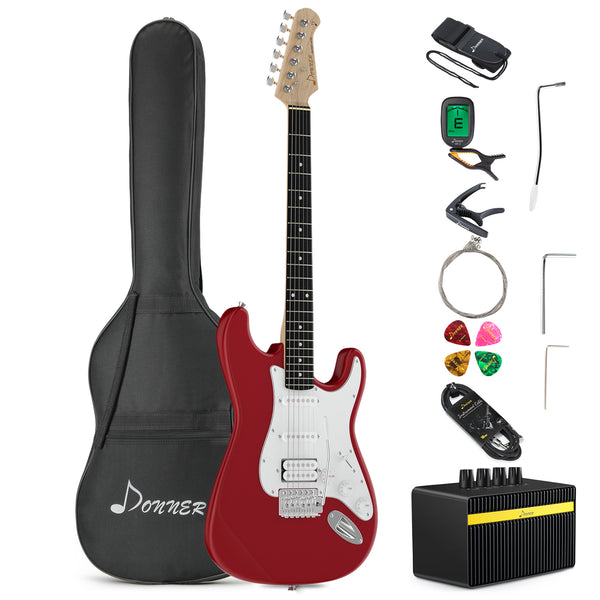 Donner DST-100R Full-Size 39 Inch Electric Guitar Sonic Red/ Sapphire Blue/Tidepool/Vintage White with Amplifier, Bag, Capo, Strap, String, Tuner, Cable and Pick