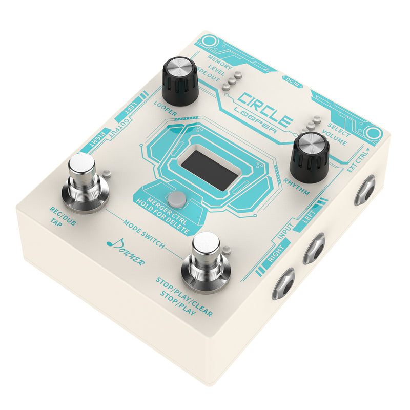 Donner Circle  Looper guitar effect pedal with Time progress bar Display Drum Machine