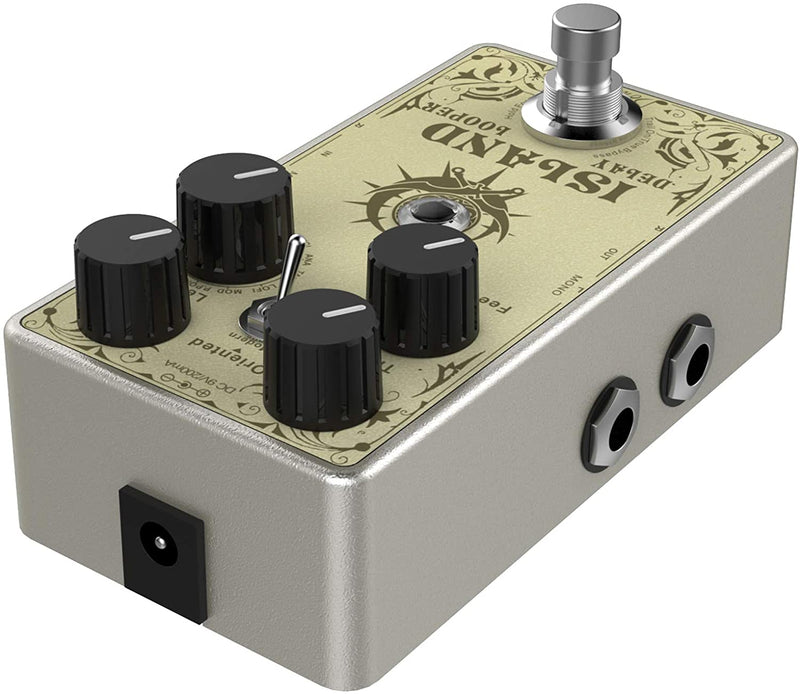 Donner Island Multi-function Delay Guitar Effect Pedal, Multi-type Delay and Looper Pedal, 10 World-Class Delay