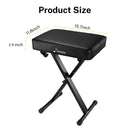 Donner Adjustable Keyboard Bench Seat Thickened Padded Piano Stool High-Density Sponges Non-Skid Design X-Style Black
