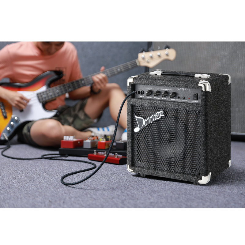 Donner 15W Bass Guitar Amplifier DBA-1 Electric Bass Combo AMP With Cable
