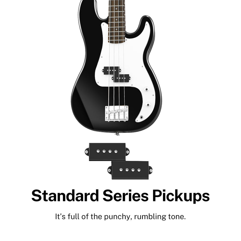 Donner DPB-510B Full Size 4 String Electric Bass Guitar Black with bag, guitar strap, and Guitar Cable