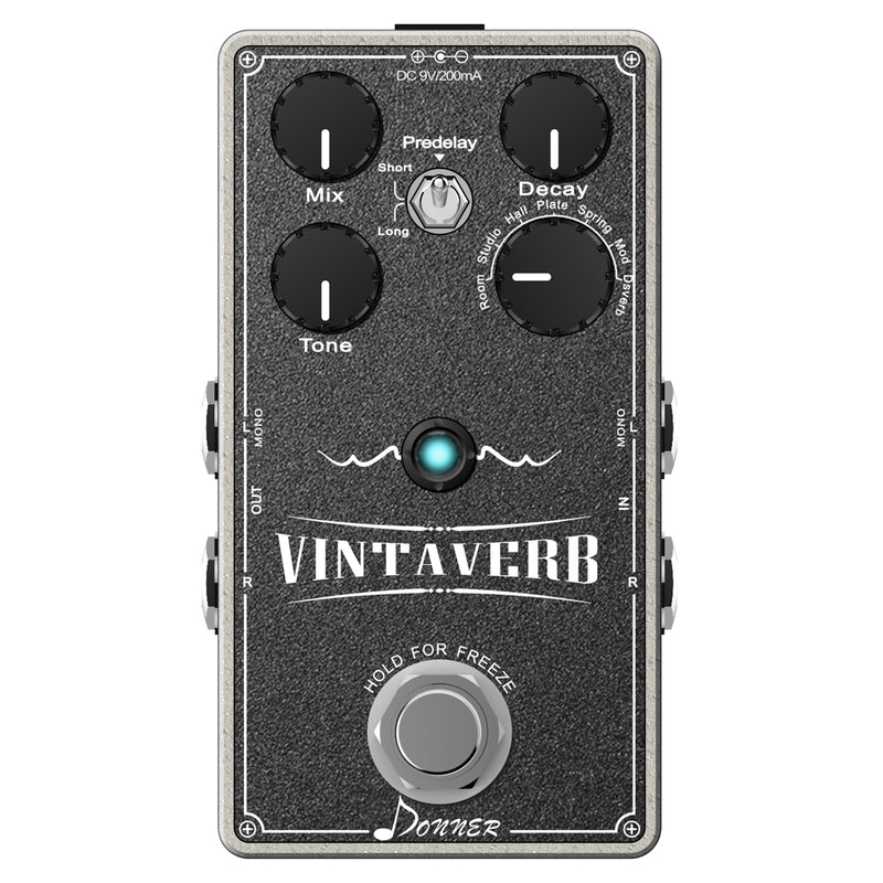 Donner Vintaverb Reverb Guitar Pedal, Multi-type Reverb Pedal 7 World-Class Reverb