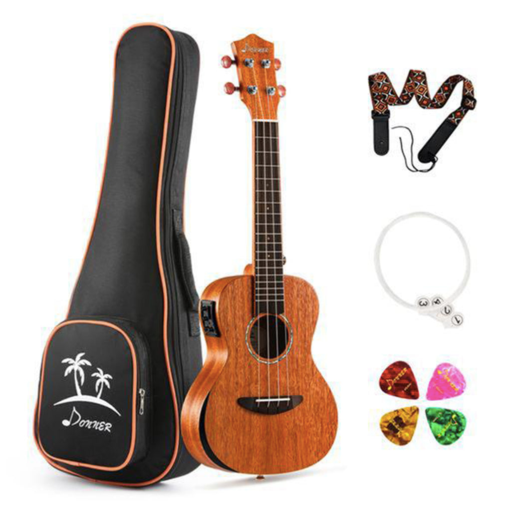 Donner Solid Electro-acoustic Ukulele Electric Concert/Tenor Ukulele EQ Mahogany Body