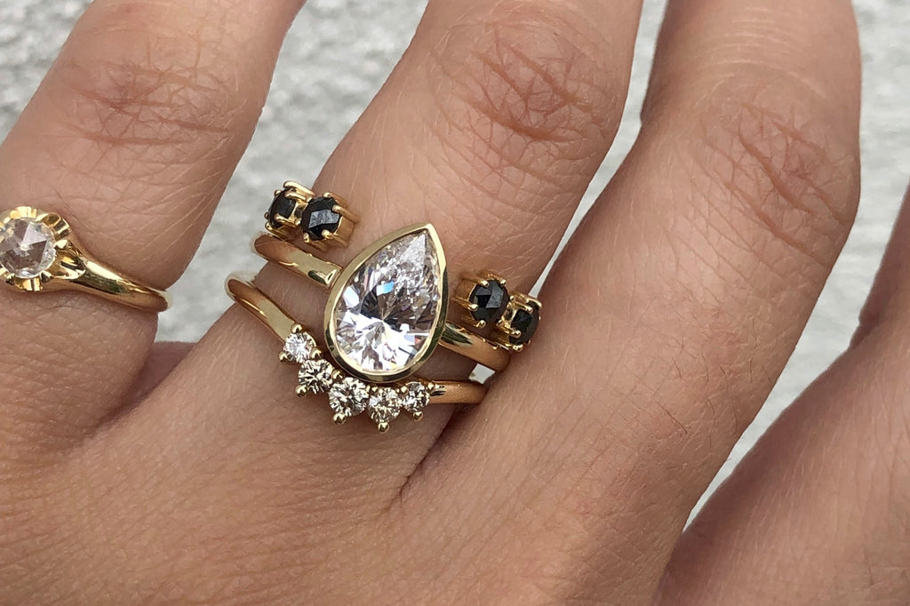 pear engagement ring wedding ring