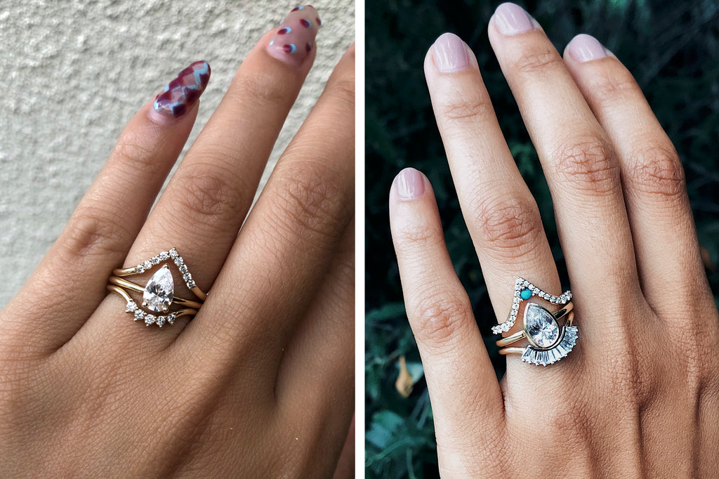 pear engagement ring triangle wedding ring