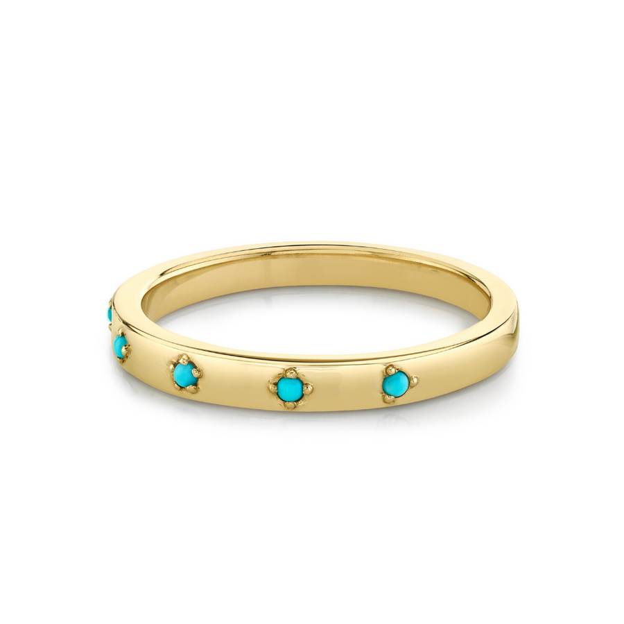 Turquoise Star Set Stacking Ring - December - Marrow Fine