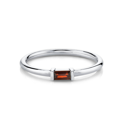 Garnet Straight Baguette Stacking Ring - January - Marrow Fine