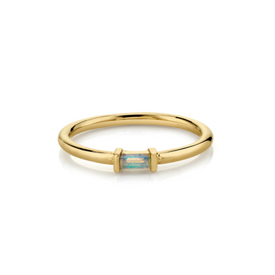 Opal Straight Baguette Stacking Ring - October - Marrow Fine