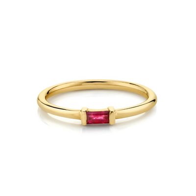 Ruby Straight Baguette Stacking Ring - July - Marrow Fine