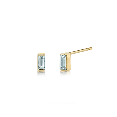 Sapphire Baguette Stud Earrings - September - Marrow Fine