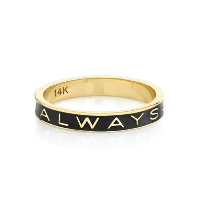 """Always"" Gold Memory Ring – Black Enamel - Marrow Fine"
