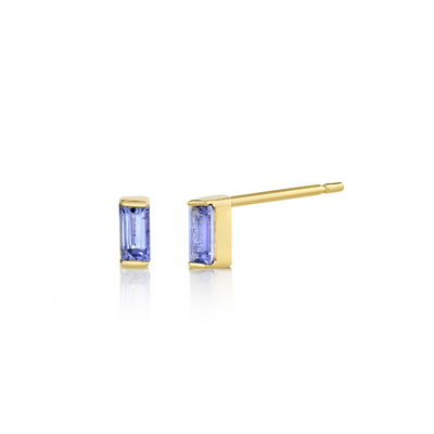 Tanzanite Baguette Stud Earrings - December - Marrow Fine