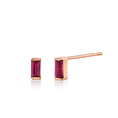 Ruby Baguette Stud Earrings - July - Marrow Fine
