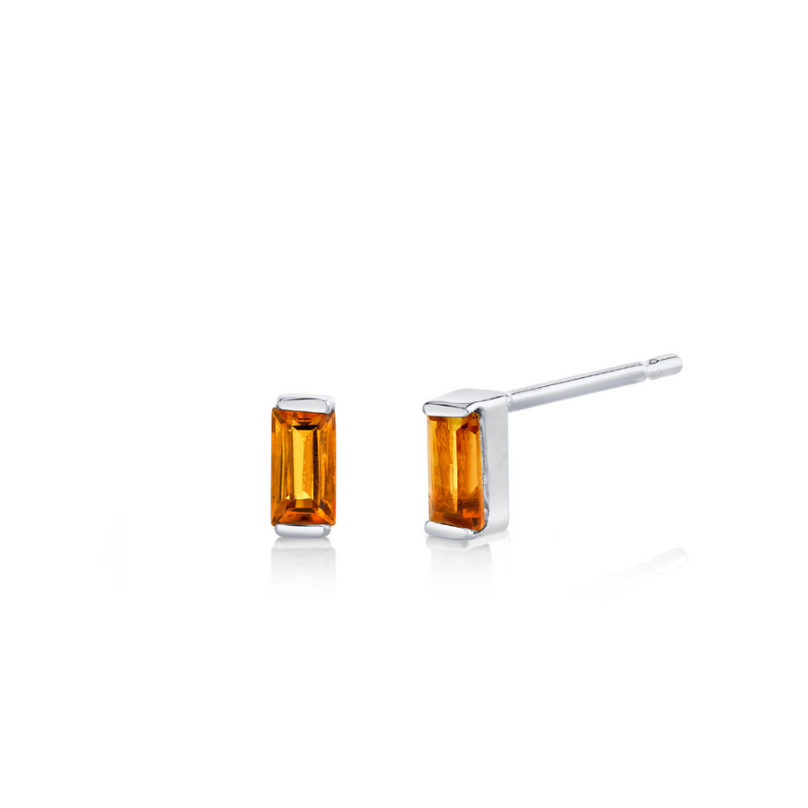 Citrine Baguette Stud Earrings - November - Marrow Fine
