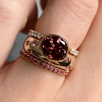 Red Spinel Bezel Ring & Sapphire Band
