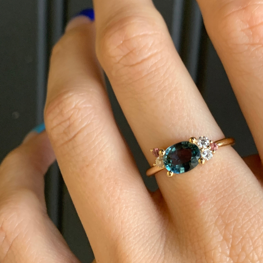 Teal Oval Sapphire Cluster Ring - Marrow Fine