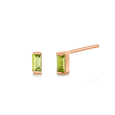 Peridot Baguette Stud Earrings - August - Marrow Fine